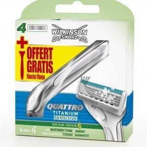 Wilkinson sword quattro titanium, maquinilla + cargador de 4 cuchillas de afeitar con banda lubrica