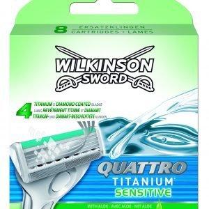 Wilkinson sword quatto titanium, cargador de 8 cuchillas de afeitar masculinas de cuatro hojas de t