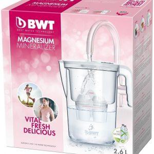 Bwt jarra manual 2,6 litros vida, blanca, filtradora de agua con magnesio