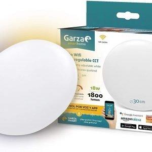 Garza smarthome, plafón led wifi cct 18 w, control por voz y app, inteligente y programable