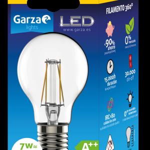 Bombilla garza led filamento clear estándar 7w, 810 lumenes, e27, luz cálida