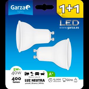 Bombilla garza led gu10, 5 w, 110º, 400 lúmenes, luz neutra, pack 2 unidades