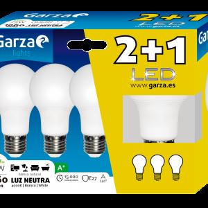 Garza lighting, blister de 3 bombillas led 12w, e27, 240º, 1060 lúmenes, luz neutra