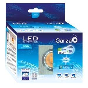 Garza lighting, empotrable led cob aluminio cuadrado 7w, 60º, 560 lúmenes, 4000 k, luz neutra