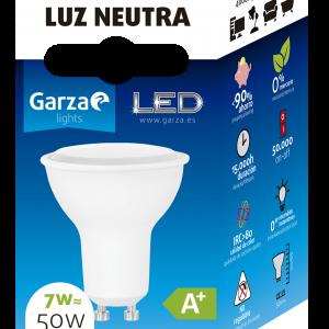 Garza lighting, bombilla led gu10, 7 w, 110º, 500 lúmenes, 40 k, luz neutra