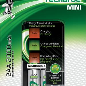 Cargador mini aaa/aa (2000 mah), indicador led de carga, incluye 2 pilas recargables 2000 mah