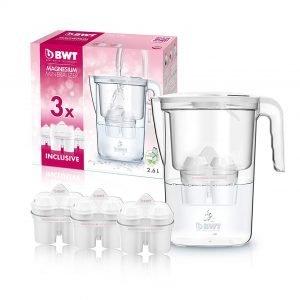 Bwt vida manual, jarra 2,6 litros filtradora de agua con magnesio + pack 3 filtros, blanca