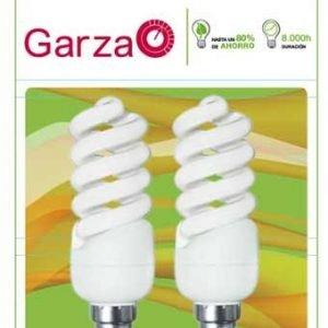 Garza lighting, blister de 2 bombillas espiral luz cálida t2 11w e14 580 lúmenes 27k
