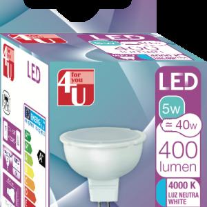 4u de garza bombilla led gu5.3 5 w luz neutra 110° 400 lúmenes caja