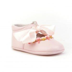 Merceditas con lazo y sin suela de Angelitos, color rosa