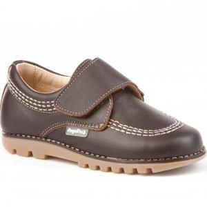 Angelitos, zapato tipo Blucher, con cierre de velcro, en marrón chocolate