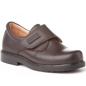 Angelitos, Zapatos colegiales de piel, color marrón chocolate, con cierre de velcro
