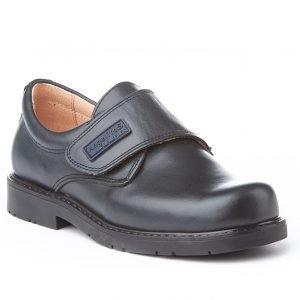 Angelitos, zapatos colegiales de piel, color azul marino, con cierre de velcro