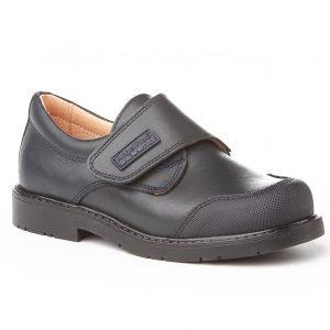 Angelitos, zapatos colegiales de piel, color azul marino, con cierre de velcro y puntera reforzada
