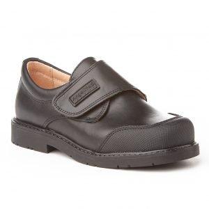 Angelitos, zapatos colegiales de piel, color negro, con cierre de velcro y puntera reforzada