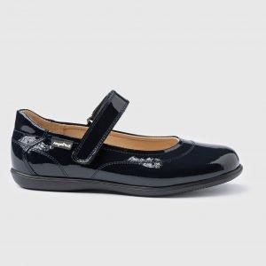 Angelitos, zapatos colegiales de charol, en azul marino