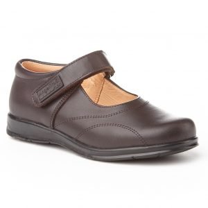Angelitos, zapatos colegiales de niña, color marrón chocolate