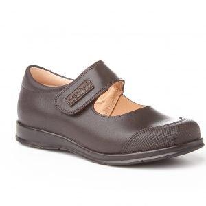 Angelitos, zapatos colegiales de niña, color marrón chocolate, con puntera reforzada