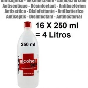 16 x 250 ml ( 4 litros ) alcohol desinfectante anti bacterias etilico 96º reforzado