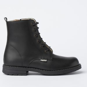 Bota militar de piel de Angelitos, color negro