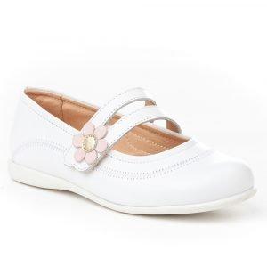 Angelitos, Merceditas blancas, con flor en el cierre de velcro