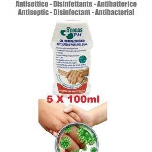 5 x 100 ml hidroalcoholico antiséptico desinfectante de manos antivirus